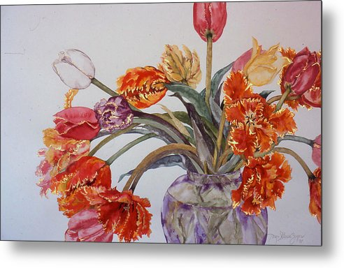 Watercolor Metal Print featuring the painting Tulip Bouquet - 12 by Caron Sloan Zuger