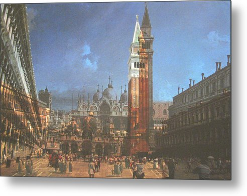 Landscape Metal Print featuring the painting After St. Mark's Square by Hyper - Canaletto