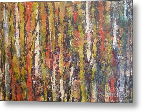 Landscape Of Trees Metal Print featuring the painting Autumn Trees by Don Phillips