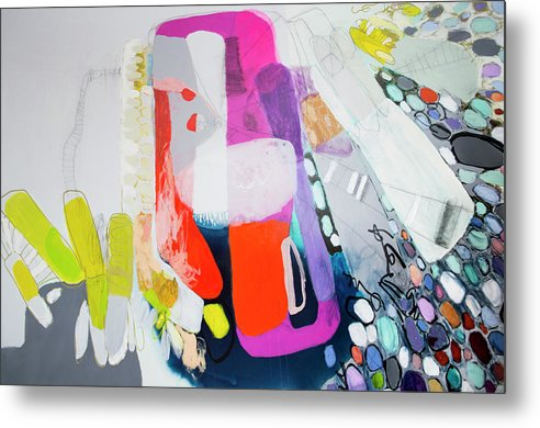 Abstract Metal Print featuring the painting How Many Fingers? by Claire Desjardins