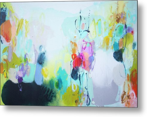 Abstract Metal Print featuring the painting On A Road Less Travelled by Claire Desjardins