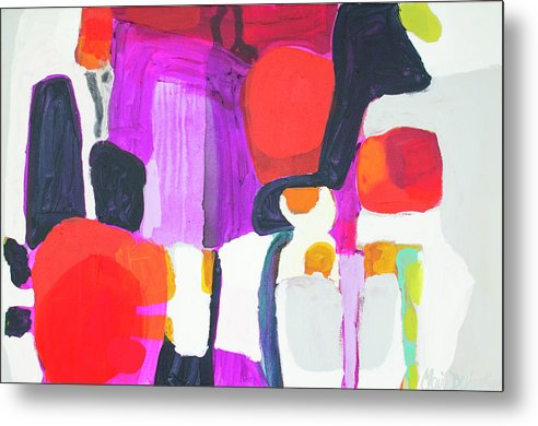 Abstract Metal Print featuring the painting On Time by Claire Desjardins