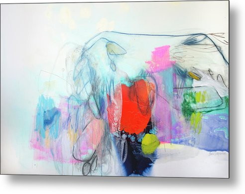 Abstract Metal Print featuring the painting Whisper by Claire Desjardins