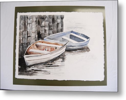 Two Rowboats At Rest At Pier Metal Print featuring the painting 2 Rowboats At Rest by Marti Kuehn