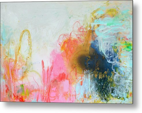 Abstract Metal Print featuring the painting Afternoon Snooze by Claire Desjardins