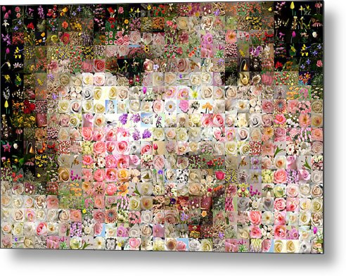 Mosaic Metal Print featuring the digital art Love Me With Flowers by Gilberto Viciedo