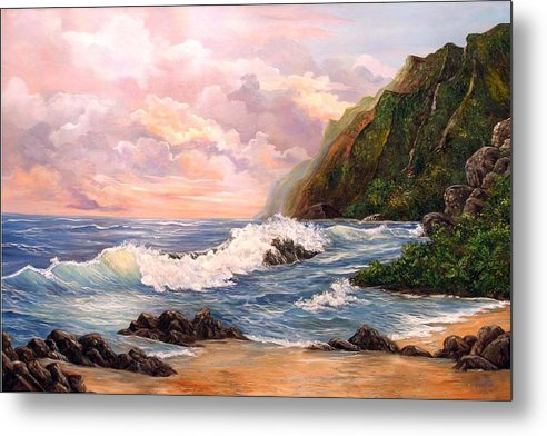 Painting Seascape Metal Print featuring the painting Rapturous Seascape by Marveta Foutch