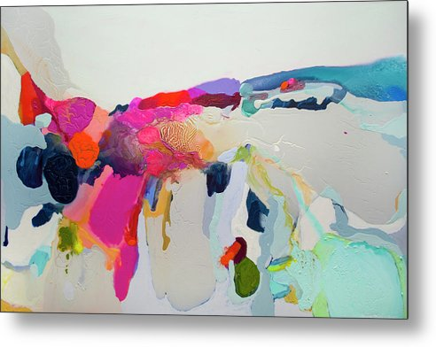 Abstract Metal Print featuring the painting Reach In Reach Out by Claire Desjardins