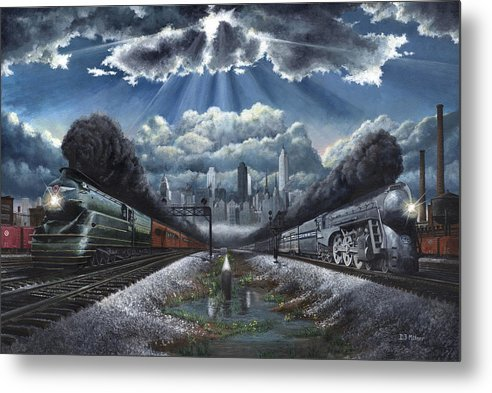 Trains Metal Print featuring the painting The Race by David Mittner