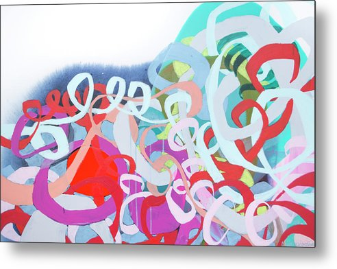 Abstract Metal Print featuring the painting The Thrill Of It All by Claire Desjardins