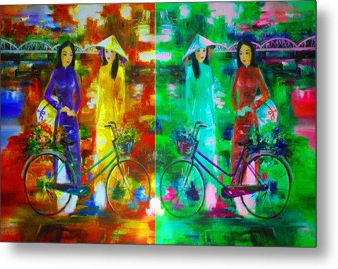 Vietnam Metal Print featuring the digital art Women With Bike by Brad Spencer