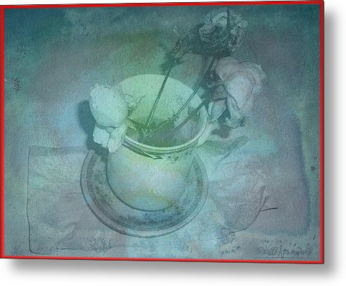 Metal Print featuring the digital art Skyworks 1 Rose by Friedl Aigner