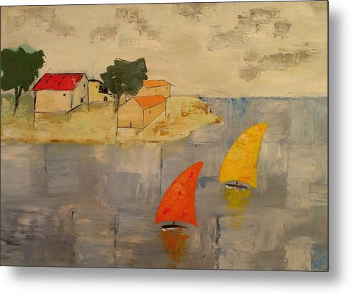 House Metal Print featuring the painting Sailing-boats by Anthony Meton