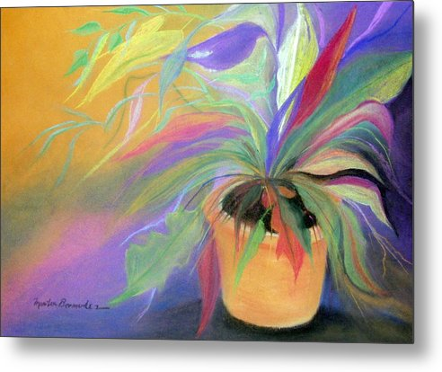 Flowers Metal Print featuring the painting The Purple Bird by Maritza Bermudez