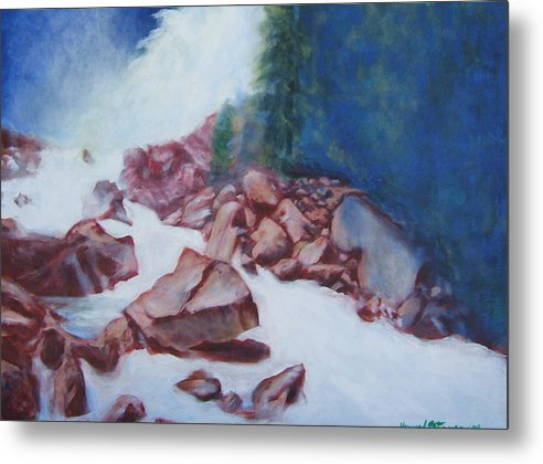 Landscape Metal Print featuring the painting White Water And Solid Rock by Howard Stroman