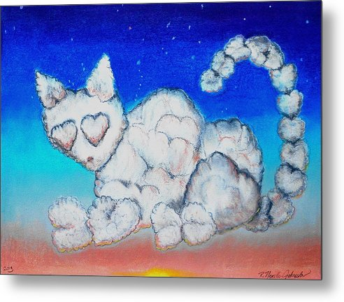 Cat Metal Print featuring the mixed media Cloud Kitty by R Neville Johnston