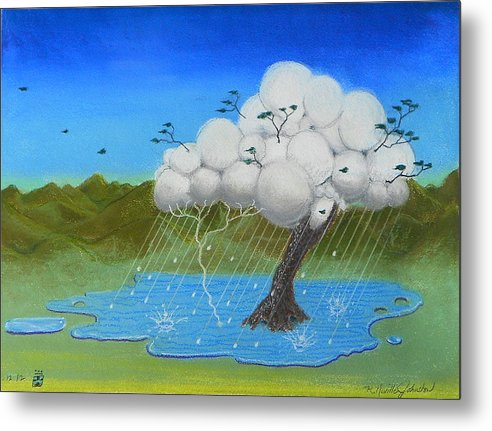 Tree Metal Print featuring the mixed media Tree Storm by R Neville Johnston