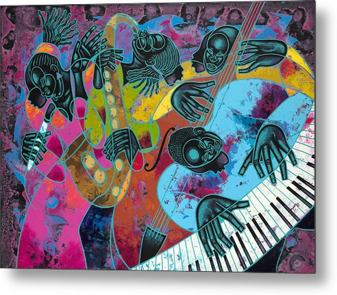 Figurative Metal Print featuring the painting Jazz On Ogontz Ave. by Larry Poncho Brown