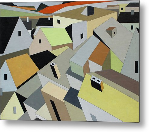 Fine Art Prints Metal Print featuring the painting Rooftops by Paul A Addams Archive