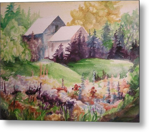 Imaginative Burst Of Floral Color In A Garden Landscape Metal Print featuring the painting Floral Explosion by Barbara Field