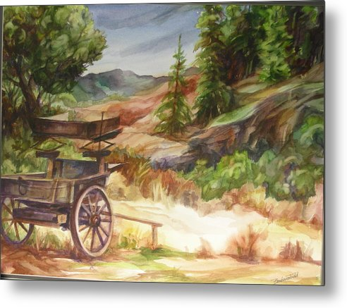 Old West Scenic Landscape Metal Print featuring the painting Old West by Barbara Field