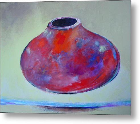 Still Life Metal Print featuring the painting Floating Pot by Paul Miller