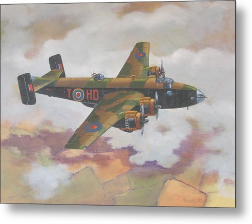 Aviation Art Metal Print featuring the painting Handley Page Halifax by Murray McLeod