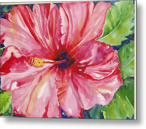 Flower Metal Print featuring the painting Hibiscus by Maritza Bermudez