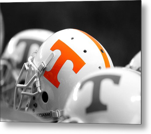 Tennessee Metal Print featuring the photograph Tennessee Football Helmets by University of Tennessee Athletics