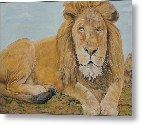 Lion Metal Print featuring the painting The Lion by Rajesh Chopra