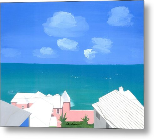 Seascapes Metal Print featuring the painting O Conners Morning View by Caleb Bynum