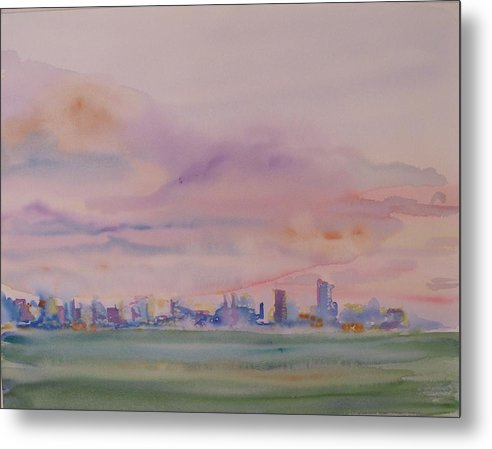 Dawn Metal Print featuring the painting Miami Water by Christine Bohrer