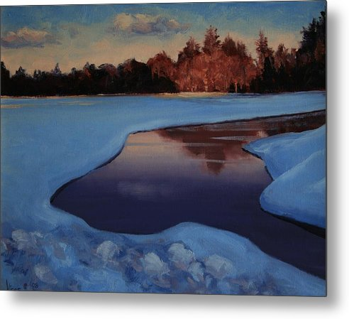 Oil Painting Metal Print featuring the painting Days Last Ray by Michael Vires