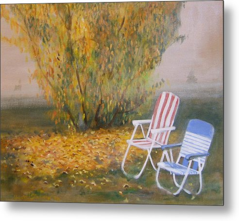 Landscape Metal Print featuring the painting Peach Tree And Winter Fog by Howard Stroman