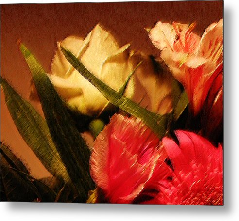 Abstract Metal Print featuring the photograph Rough Pastel Flowers - Award-winning Photograph by Gerlinde Keating - Galleria GK Keating Associates Inc