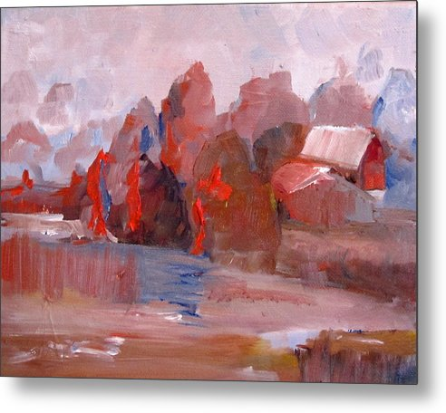 Barn Metal Print featuring the painting Fields Of Orange by Delilah Smith