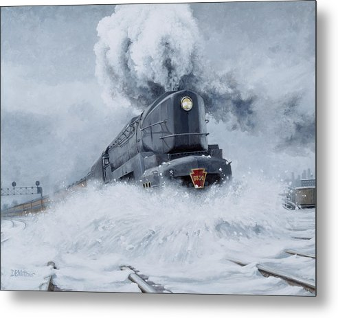 Trains Metal Print featuring the painting Dashing Through The Snow by David Mittner