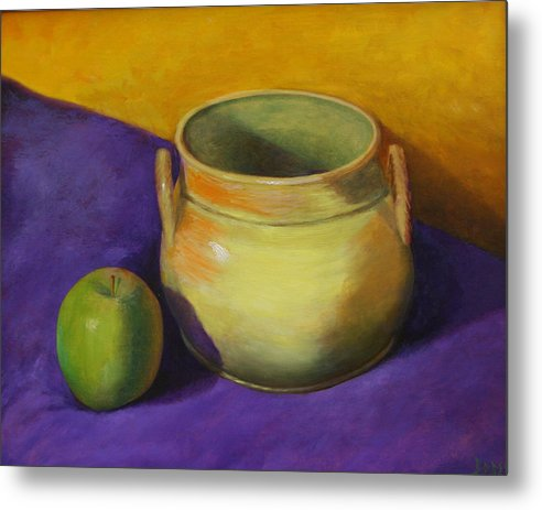 Still Life Metal Print featuring the painting Granny Smith And The Yellow Pot by RF Hauver