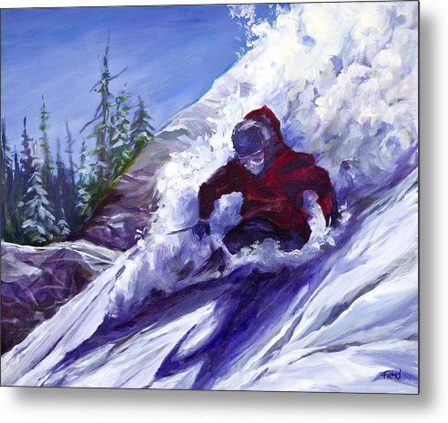 Skier Attacking Downhill Powder Slopes Metal Print featuring the painting Torpedo by Barbara Field