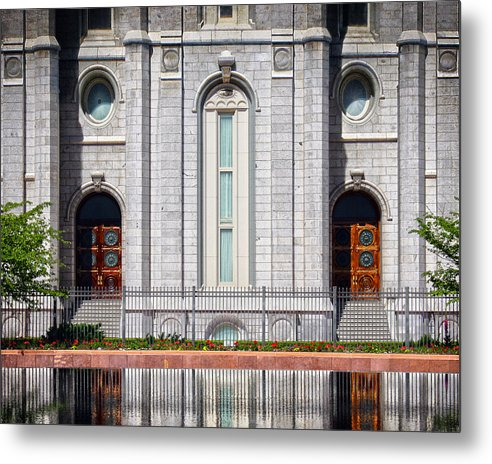 Salt Lake Metal Print featuring the painting Salt Lake Temple Reflections by Brent Borup