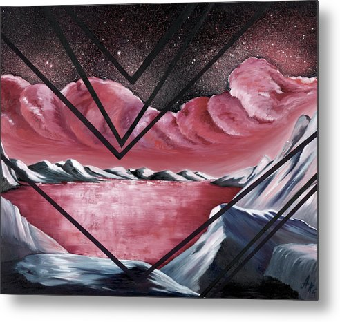Abstract Landscape Fantasy Metal Print featuring the painting The Mystic Realm by Ara Elena
