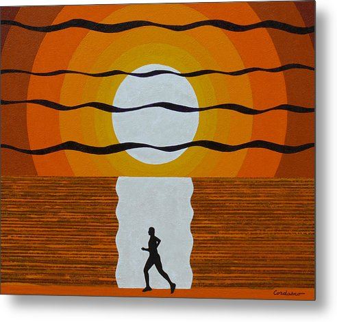 Jogger Metal Print featuring the painting Sunrise Jogger by James Cordasco