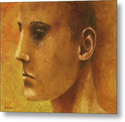 Face Metal Print featuring the painting Golden Boy by Ralph Papa