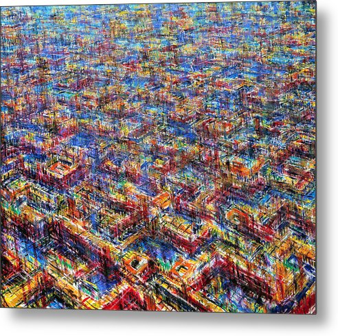 Architexture Metal Print featuring the painting Citypattern by De Es Schwertberger
