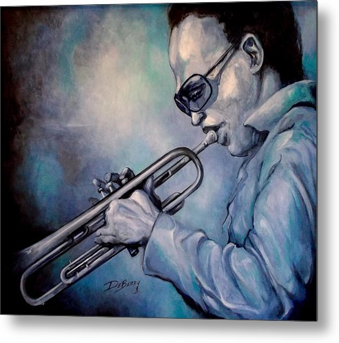 Glecee Limited Edition Print Of Miles Davis Metal Print featuring the painting All Blue Print by Lloyd DeBerry