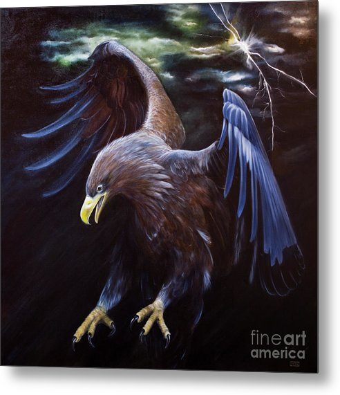 Thunder Metal Print featuring the painting Thunder by Julie Bond