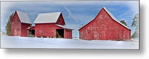 Smithfield Metal Print featuring the photograph Red Barns In The Snow by Williams-Cairns Photography LLC