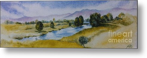 Landscape Metal Print featuring the painting Bellinger Valley In Spring by Sandra Phryce-Jones