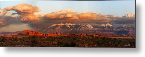 Moab Metal Print featuring the photograph Sunset Panorama In Arches National Park by Dan Norris