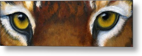 Tiger Eyes Metal Print featuring the painting Whos Watching Who  Tiger by Darlene Green